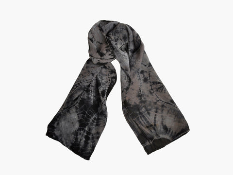 Vintage Silk Gray and Black Tie Dyed Scarf