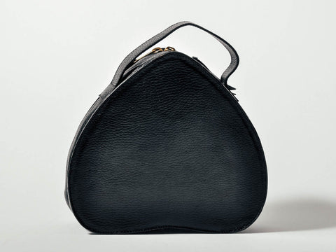 Vintage Black Heart-Shaped Leather Handbag
