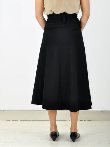 Vintage Black Full Tab Wool Skirt