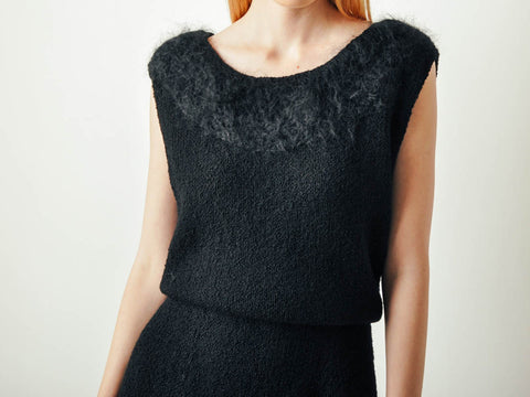 Vintage Black Wool Dress w/ Mohair Collar