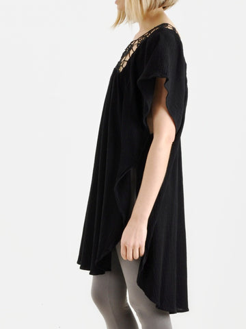 Vintage Black Asymmetrical Cotton Tunic
