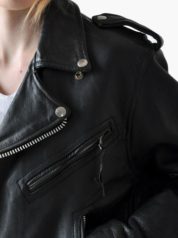 Vintage Black Lace-Up Leather Jacket