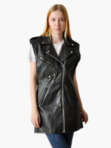 Vintage Black Leather Moto Vest