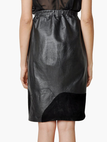 Vintage Leather and Suede Patchwork Skirt
