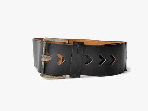 Vintage Arrow Cutout Black Leather Belt