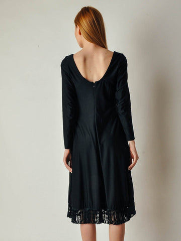 Vintage Black Dress with Loopy Fringe