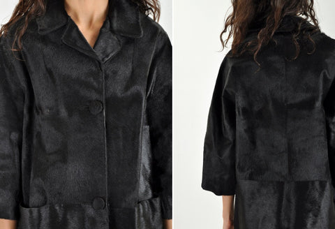 Vintage Black Pony Hair Coat
