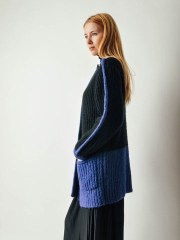 Vintage Black & Purple Colorblock Sweater