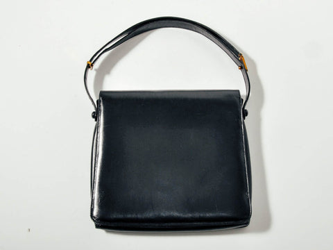 Vintage Black Leather Modernist Purse