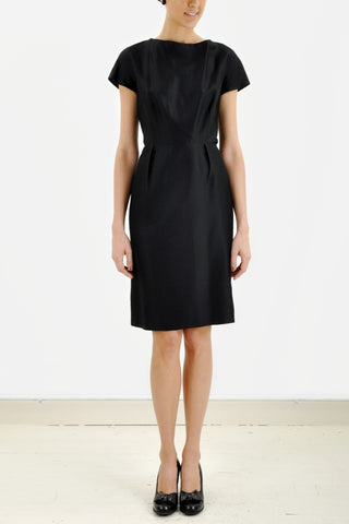 Vintage Black Cap Sleeve Silk Dress