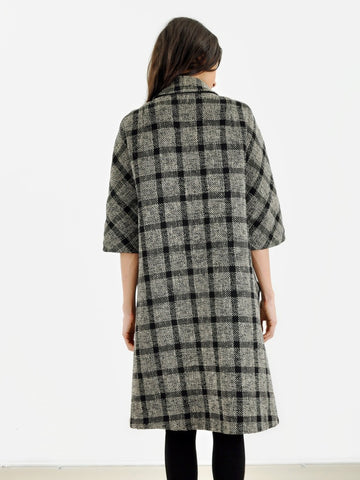 Vintage Black Plaid Reversible Coat