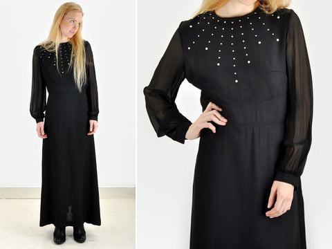 Vintage RHINESTONE FRONT Black Maxi Dress