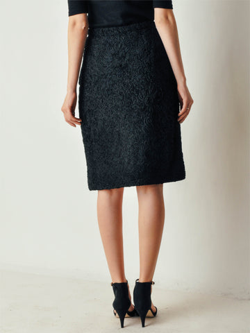 Vintage Black Ribbon Pencil Skirt
