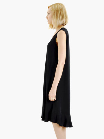 Vintage Black Ruffle Hem Dress