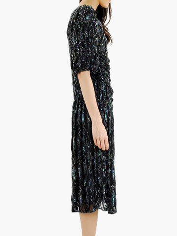 vintage black SILK SEQUIN party dress