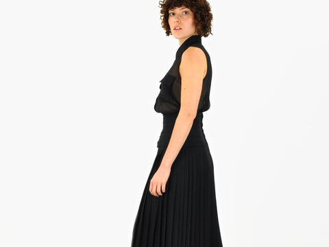 Vintage Sheer Pleated Midi Skirt