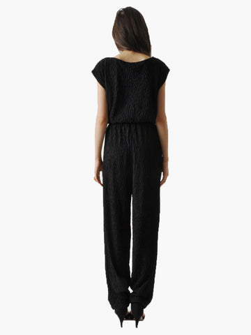 Vintage Black Textured Jumpsuit