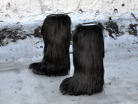 vintage 70s BLACK GOAT HAIR Fur Boots