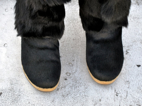 vintage black FUR SNOW BOOTS