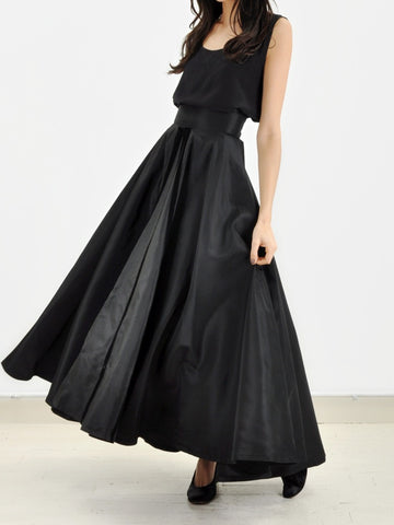Vintage Silk Taffeta Long Skirt