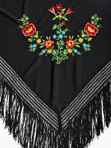 Vintage Black Embroidered Fringe Shawl