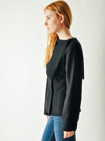 Vintage Black Asymmetrical Collar Jacket