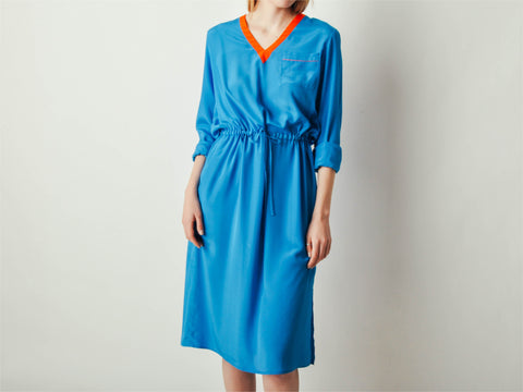 Vintage Bright Blue Contrast Dress