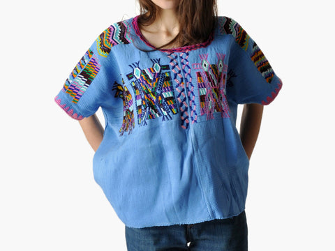 Vintage Blue Ethnic Boxy Top