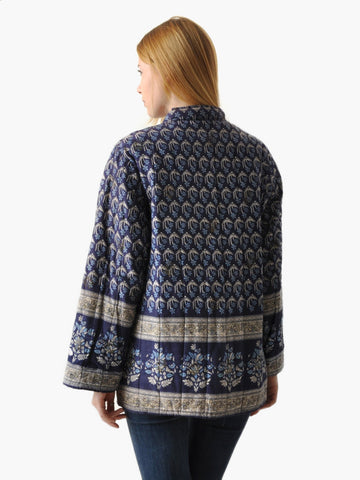 Vintage Blue Quilted Indian Jacket