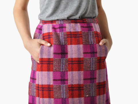 Vintage Bonnie Cashin Plaid Wool Skirt