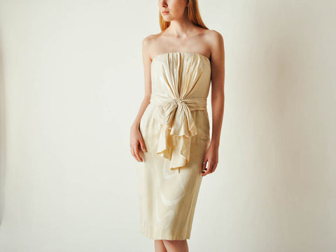 Vintage Odicini Cream Strapless Dress