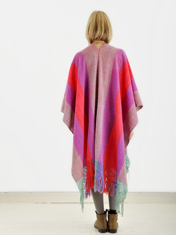 Vintage Colorful Blanket Cape