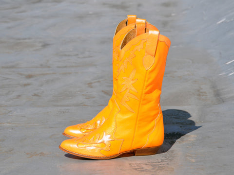 Orange Leather Cowboy Boots