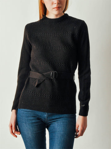 Vintage Brown Belted Sweater