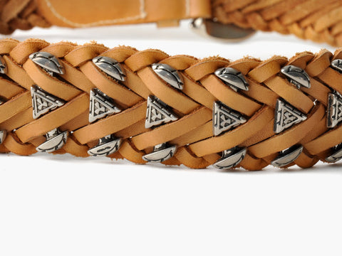 Vintage Western Brown Leather Braided Belt