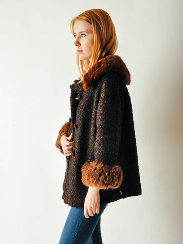 Vintage Brown Coat with Fur Collar & Cuffs