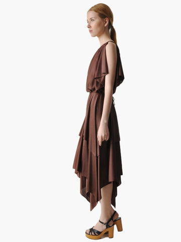 Vintage 70s Brown Handkerchief Dress