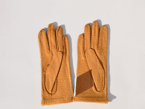 Vintage Camel Leather Gloves