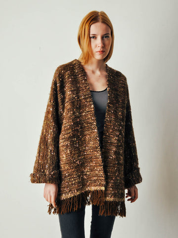 Vintage Brown Blanket Sweater