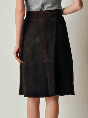 Vintage 70s Brown Suede Leather Button Skirt