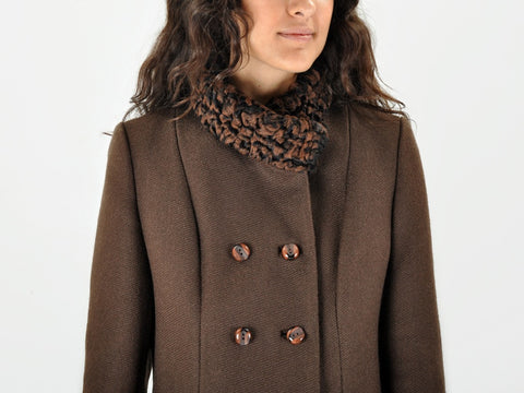 Vintage Brown Astrakhan Fur Jacket