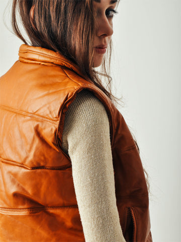 Vintage Caramel Leather Puffy Vest