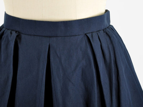 Carven Navy Pleated Skirt