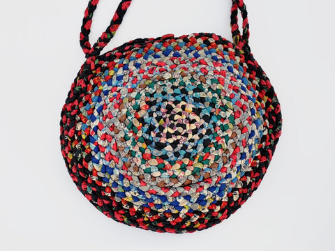 vintage LARGE ROUND multi-color braided bag