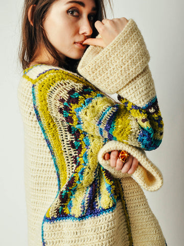 Vintage Chunky Cardigan with Colorful Trim