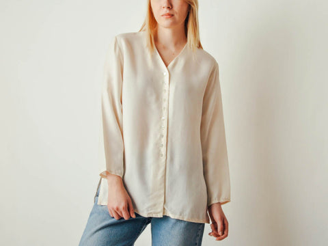 Vintage Off-white Silk Button Down Blouse