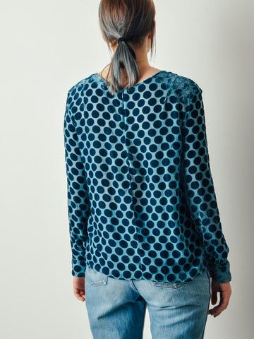 Creatures of Comfort Blue Velvet Blouse