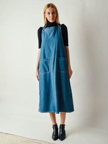 Vintage Anne Klein Denim Apron Dress