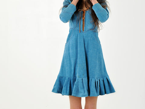 Vintage Lace-Up denim dress