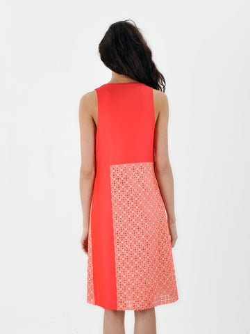 Derek Lam Coral Linen Inset Dress
